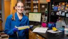 Emily Chappell in the Fitzkee Lab